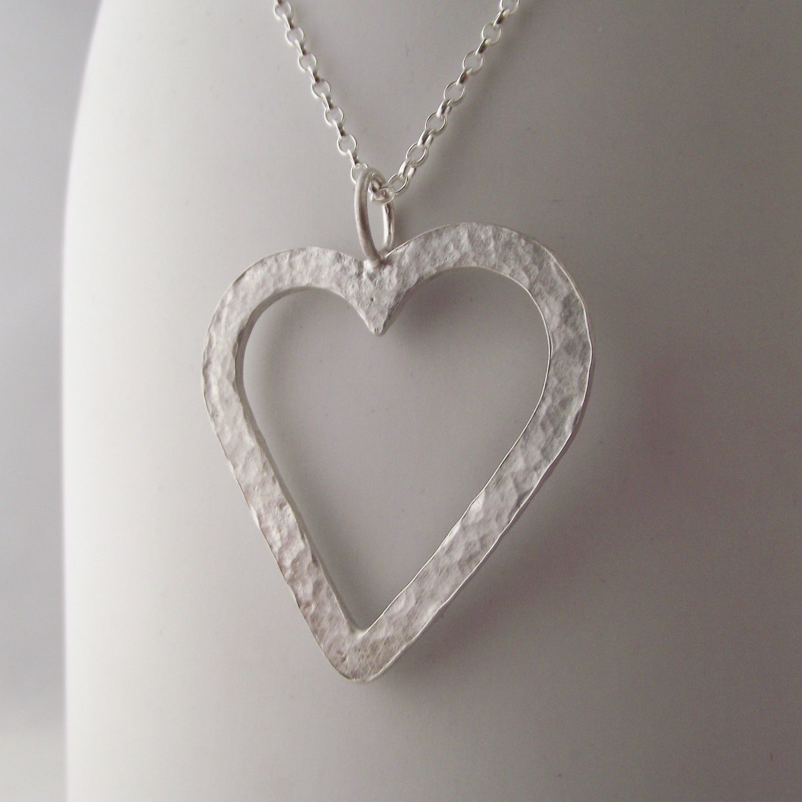 Stunning necklace handmade sterling silver hammer finish large heart stunning necklace handmade sterling silver hammer finish large heart pendant mozeypictures Choice Image